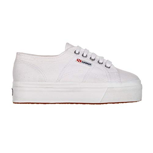 Baskets en toile blanche casual Superga avec extra plate forme
