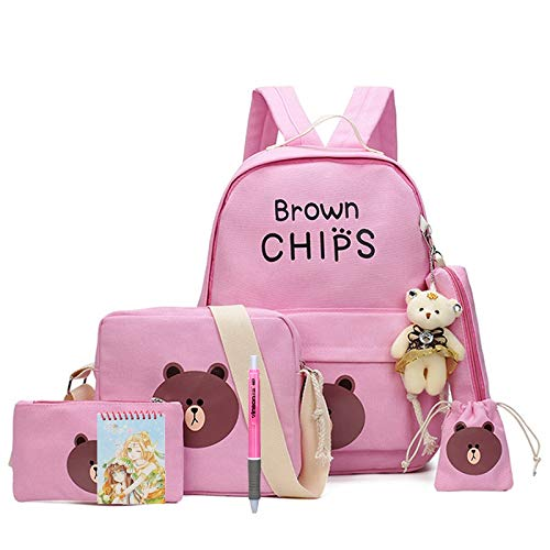 Sac à dos enfant en toile rose nounours Brown Chips